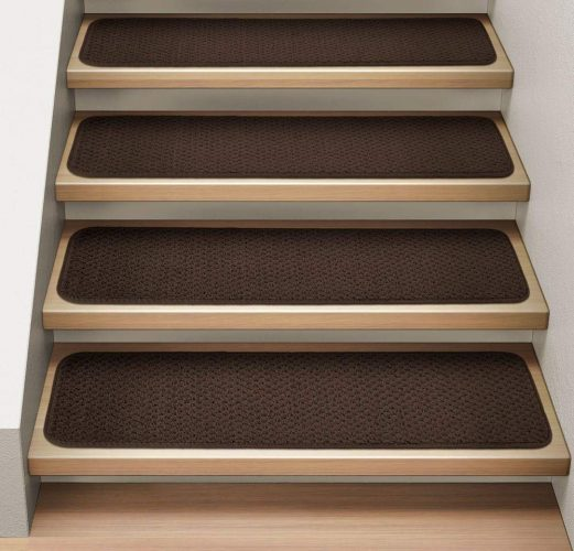 House, Home and More Set of 12 Attachable Indoor Carpet Stair Treads - Chocolate Brown - 8 In. X 30 In. - Several Other Sizes to Choose From