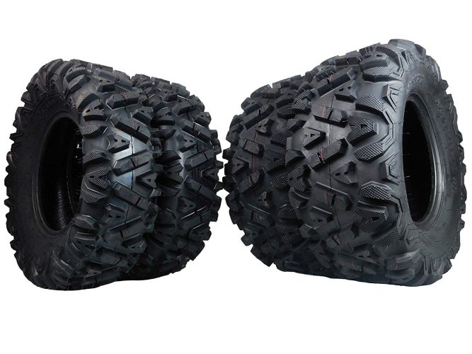"FOUR 26x9-12 26x11-12 KT MASSFX big TIRE SET FOUR ATV TIRES SIX PLY 26"" horn"