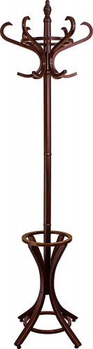 Headbourne 8000 Floor Standing Hat and Coat Rack with Umbrella Stand, Wood with Dark Walnut Paint Finish