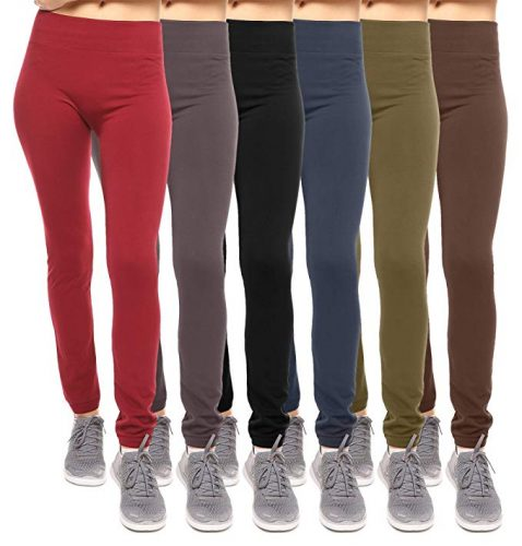 Free to Live 6 Pack Seamless Fleece Lined Leggings Women - One Size
