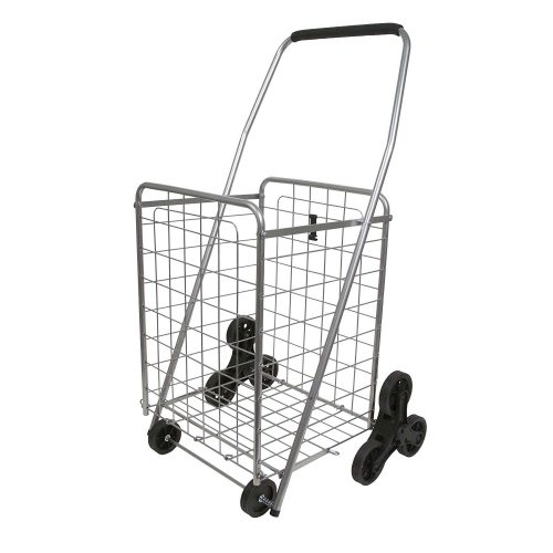 Helping Hand Deluxe Stair Climber Cart in Silver | Folding Cart Holds Up to 60 lbs - Great for Shopping, Camping, Sport Events, Much More