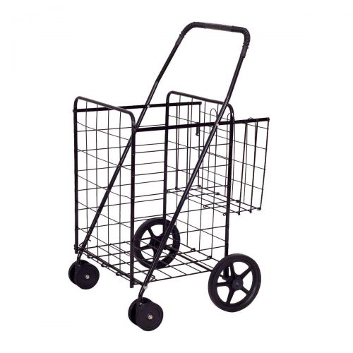 Goplus Folding Shopping Cart Jumbo Double Basket Perfect for Grocery Laundry Book Luggage Travel W/Swivel Wheels