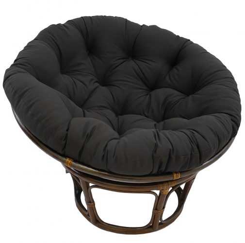"Blazing Needles Solid Twill Papasan Chair Cushion, 52"" x 6"" x 52"", Black"