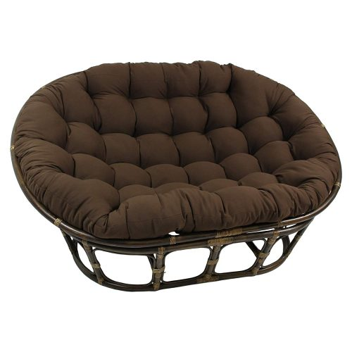 "Blazing Needles Solid Twill Double Papasan Chair Cushion, 58"" x 6"" x 78"", Toffee"