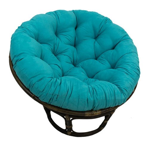 International Caravan 3312-MS-AB-IC Furniture Piece Rattan 42-inch Papasan Chair with Micro Suede Cushion
