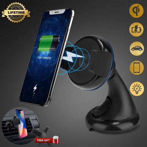 Wireless Car Charger, iFunTec Car Mount Air Vent Car Phone Holder, Multifunctional Wireless Car Phone Charger Mounts for iPhone X/8/8 Plus, Samsung Galaxy S9/S9+/S8/S8+, Compatible with All Qi-Enable