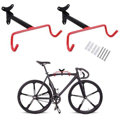 PHUNAYA Bike Hanger Wall Mount Bike Holder Horizontal Foldable Bicycle Hook - bike wall mounts