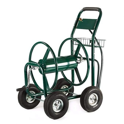ALEKO GHRC400 Heavy Duty Hose Reel Cart Industrial 4 Wheel 400 Foot Hose Capacity Outdoor Yard Garden Landscape Green - 4 Wheel Garden Carts