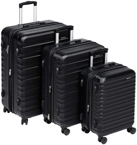 """AmazonBasics Hardside Spinner Luggage - 3 Piece Set (20"""", 24"""", 28""""), Black - hard case suitcases"""