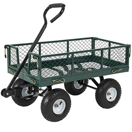Best Choice Products Utility Cart Wagon Lawn Wheelbarrow Steel Trailer 660lbs - 4 Wheel Garden Carts