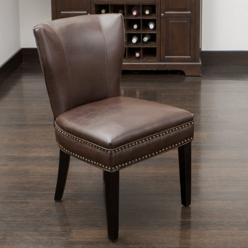 Christopher Knight Home 238414 George Brown Leather Dining Chair - Comfortable Dining Chair