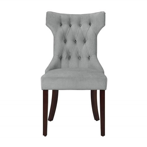 Dorel Living Clairborne Tufted Upholestered Dining Chair, Gray, Set of 2 - Comfortable Dining Chair