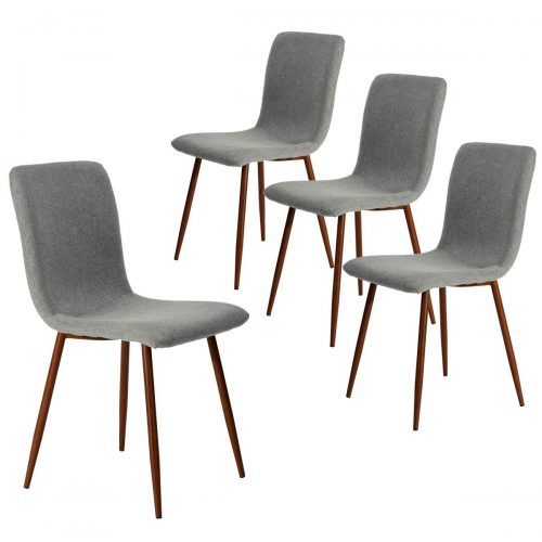Coavas Kitchen Dining Chairs Set of 4 Fabric Cushion Side Chairs Sturdy Metal Legs Home Kitchen Living Room Table, Grey - Comfortable Dining Chair