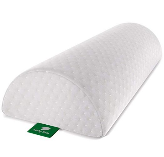 Cushy Form Back Pain Relief Half-Moon Bolster/Wedge - Provides Best Support for Sleeping on Side or Back - Memory Foam Semi-Roll Leg/Knee Pillow with Washable Organic Cotton Cover (Large, White) -Knee Pillows