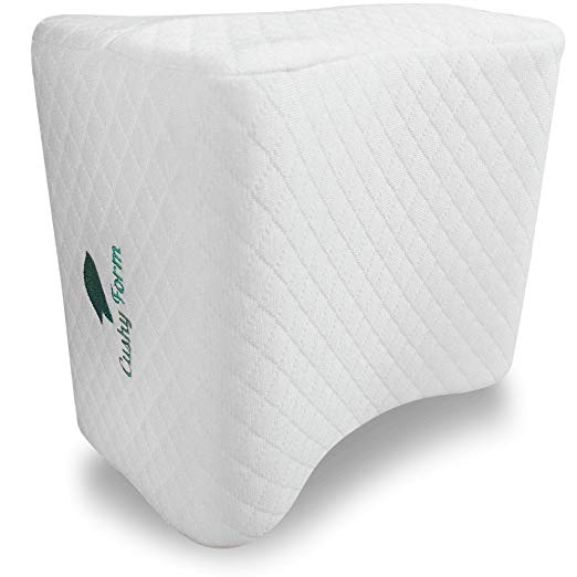 Cushy Form Sciatic Nerve Pain Relief Knee Pillow - Best for Hip, Leg, Knee, Back and Spine Alignment - Memory Foam Orthopedic Leg Pillow Wedge with Washable Cover + Free Storage Bag  - Knee Pillows