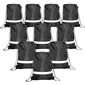 Drawstring Backpack Bags Reflective Bulk Pack, Promotional Sport Gym Sack Cinch Bags - Drawstring Bags