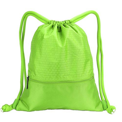 Drawstring Backpack Sports Gym Bag for Women Men Children Large Size with Zipper and Water Bottle Mesh Pockets - Drawstring Bags