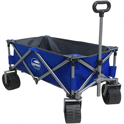 Eurmax Sports Collapsible Sturdy Steel Frame Garden Carts on Wheels Utility Beach Wagon Cart,Bonus 8x8Ft Picnics Mat (Blue & Gray) - 4 Wheel Garden Carts