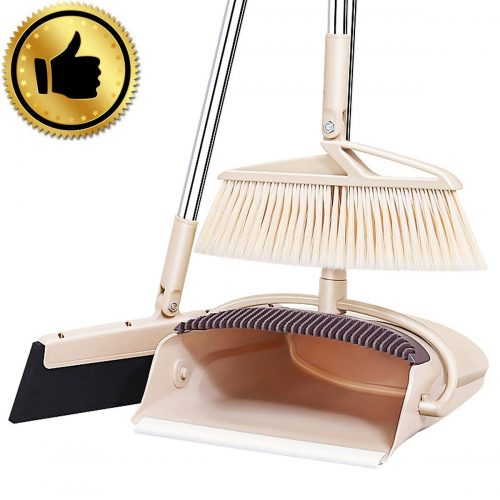 Exteded Broom and Dustpan Set with Wipe Dry Floor Squeegee - 3PCS Self Cleaning Broom and Dust Pan with Long Handle, Standing Upright Grips Sweep Set with Lobby Broom Combo Set for Kitchen (Beige) - dust pans