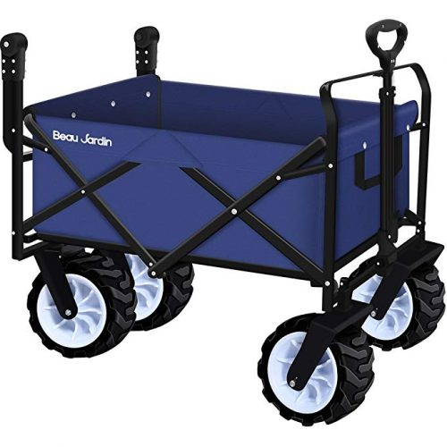 Folding Push Wagon Cart Collapsible Utility Camping Grocery Canvas Fabric Sturdy Portable Rolling Lightweight Beach Sand Buggies Outdoor Garden Sport Picnic Heavy Duty Shopping Cart Wagons With Wheels - 4 Wheel Garden Carts