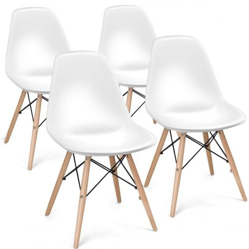 Giantex Set of 4 Mid Century Modern Style DSW Dining Chair Side Wood Assembled Legs for Kitchen, Dining, Bedroom, Living Room (White) - Comfortable Dining Chair