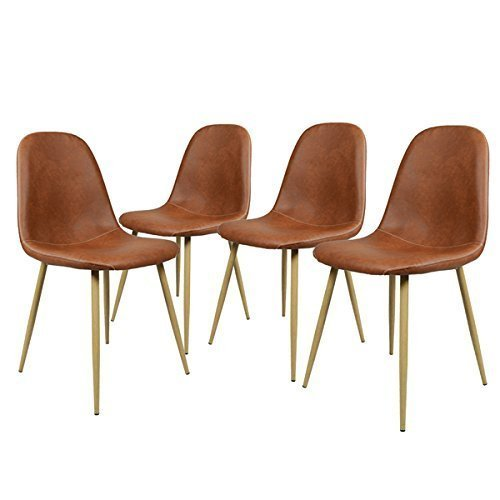 GreenForest Dining Side Chairs Washable Pu Cushion Seat Metal Legs for Dining Room Chairs Set of 4,Brown - Comfortable Dining Chair