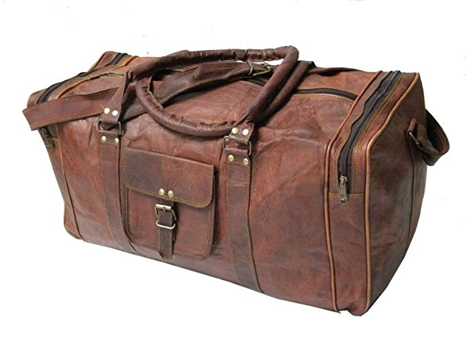 "Handmade Vintage 24"" Men's Genuine Leather Duffle - Leather Business Bags For Men"