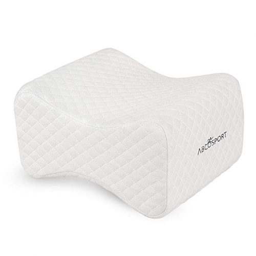 Knee Pillow - Ideal Choice for Hip, Back, Leg, Knee Pain, Side Sleepers, Pregnancy & Right Spine Alignment – Premium Comfortable Memory Foam Wedge Contour w Washable Cover & Storage Bag (White) - Knee Pillows