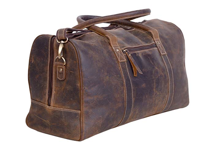 KomalC Genuine Leather Duffel   Travel Overnight Weekend Leather Bag - Leather Business Bags For Men