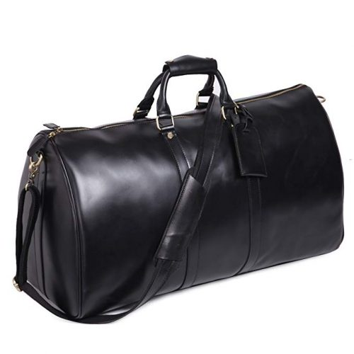 Leathario Mens Genuine Leather Overnight Travel Duffle Overnight - Leather Business Bags For Men