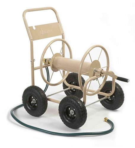 Liberty Garden Products 870-M1-2 Industrial 4-Wheel Garden Hose Reel Cart, Holds 300-Feet of 5/8-Inch Hose – Tan - 4 Wheel Garden Carts