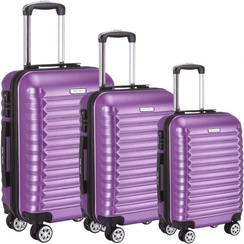 Luggage Set 3 Piece ABS Trolley Suitcase Spinner Hardshell Lightweight Suitcases TSA - hard case suitcases
