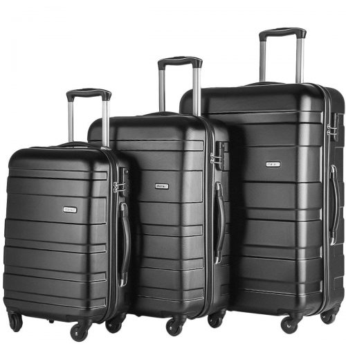 Merax Afuture 3 Piece Set Lightweight Luggage Spinner Suitcase (Black) - Lightweight luggage