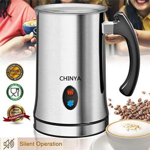 Milk Frother, Automatic Milk Steamer with New Foam Density FeaB06XXH6Z4Dture, Electric Frother with Hot or Cold Milk Function for Coffee, Cappuccino and Breakfast (Silver) - Milk Frothers
