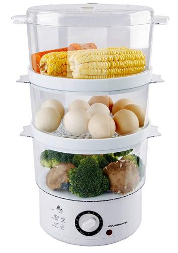 Ovente 3-Tier Electric Steamer for Vegetables and Food with Timer - Vegetable Steamers