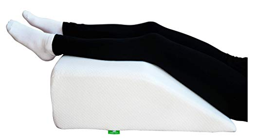 Post Surgery Elevating Leg Rest Pillow with Memory Foam Top - Best for Back, Hip and Knee Pain Relief, Foot and Ankle Injury and Recovery Wedge - Breathable and Washable Cover (8 Inch Elevator, White)  - Knee Pillows