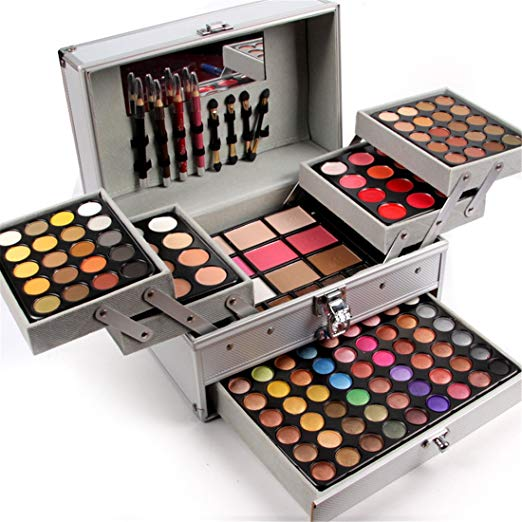 Pure Vie Professional 132 Colors Eyeshadow Concealer Blush Eyebrow Powder Palette Makeup Contouring Kit with Aluminum Case - Professional Makeup Kits