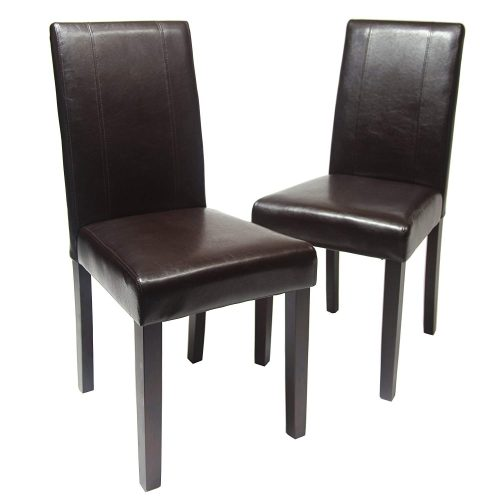 Roundhill Furniture Urban Style Solid Wood Leatherette Padded Parson Chair, Brown, Set of 2 - Comfortable Dining Chair