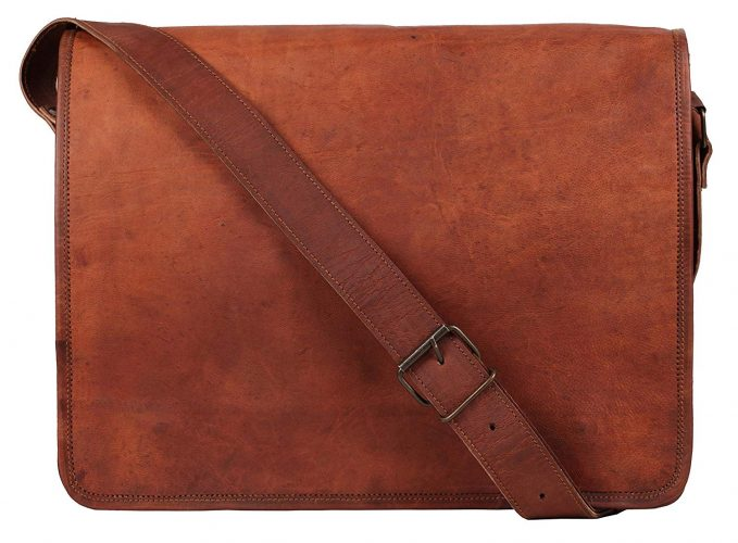 Rustic Town 15 inch Vintage Crossbody Genuine Leather Laptop Messenger Bag - Leather Business Bags For Men
