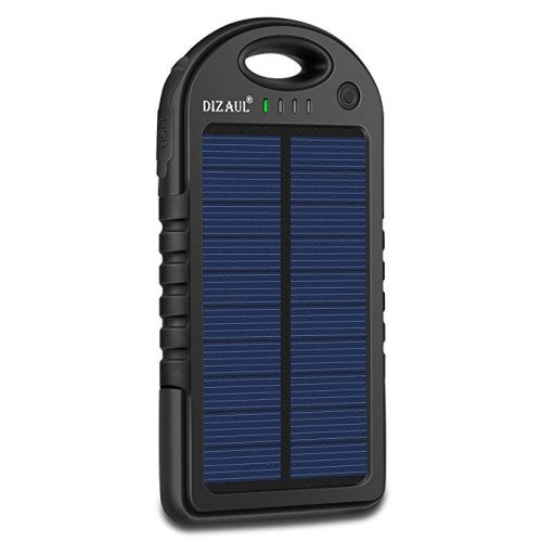 Solar Charger,Dizaul 5000mAh Portable Solar Power Bank Waterproof/Shockproof/Dustproof Dual USB Battery Bank - Solar Power Banks
