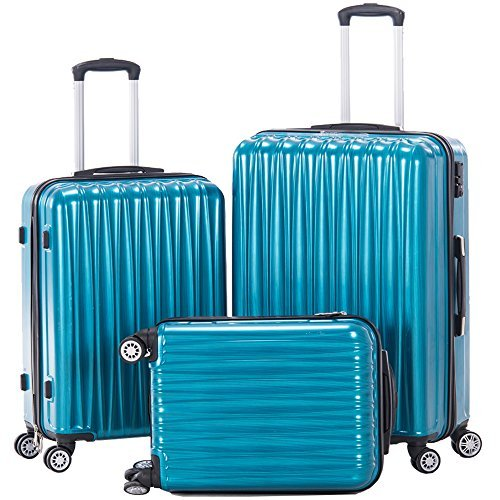 Spinner Luggage 3pcs PC/ABS Hard Side Luggage sets 20inch TSA lock Hardshell Suitcase(Peacock Blue) - hard case suitcases