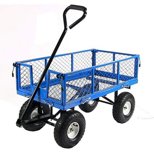 Sunnydaze Garden Cart, Heavy Duty Collapsible Utility Wagon, 400 Pound Capacity, Blue - 4 Wheel Garden Carts