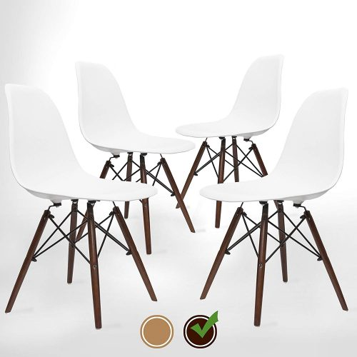 UrbanMod Mid Century Modern Style Chairs - Walnut (Set Of 4).'Easy Assemble' Modern Furniture With ErgoFlex ABS Plastic And 'One Wipe Wonder' Cleaning! Comfortable Dining Chairs Meets 5-Star Style - Comfortable Dining Chair