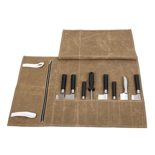 Useful Waxed Canvas Chef's Knife Roll Bag Waterproof