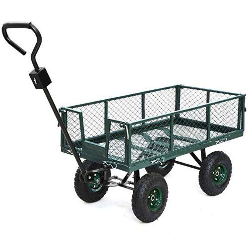 Yaheetech Heavy Duty Garden/Lawn Utility Cart/Wagon with Removable Steel Side Mesh, 800LB Capacity, Green - 4 Wheel Garden Carts