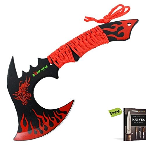 "11"" Black/Green Combat Full Tang Tactical Throwing Knife Axe Hatchet Dragon + Free eBook by SURVIVAL STEEL"