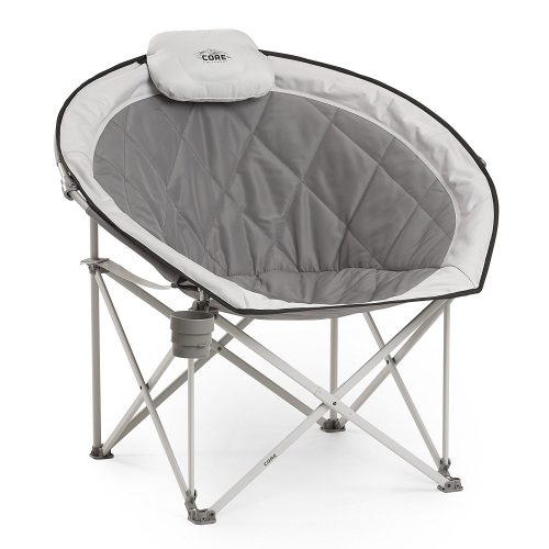 CORE Equipment Folding Oversized Padded Moon Round Saucer Chair with Carry Bag, Gray