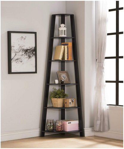 Cappuccino Finish Wood Wall Corner 5-Tier Bookshelf Bookcase Accent Etagere