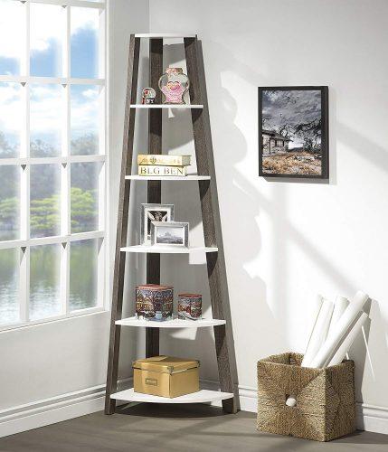 White / Grey Finish Two-Tone Wood Wall Corner 5-Tier Bookshelf Bookcase Accent Etagere