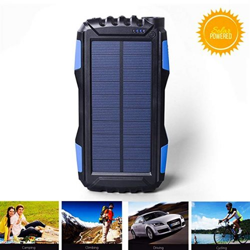 kiizon Solar Charger 25000mAh Outdoor Portable Chargers Solar Power Bank Waterproof - Solar Power Banks